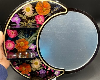 Moon mirror with shelves
