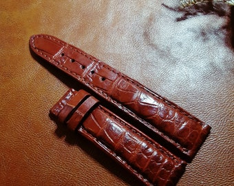 a352c98db343 Handmade Exotic Alligator Crocodile Padded Watch Strap Band For Chestnut  brown