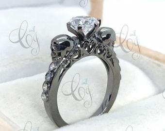Skull Engagement Ring - 1.85 Ct Moissanite Gothic Ring - Dainty Skull Ring - Stacking Ring - Skull Design Ring - Anniversary Gift For Her