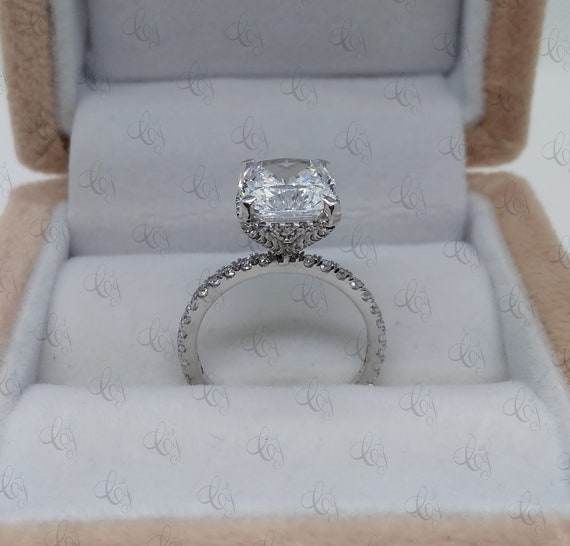 Anniversary Ring Proposal Ring Awesome 4.30 CT Hidden Halo Cushion Cut CZ Engagement Ring In Solid 925 Sterling Silver Wedding Ring