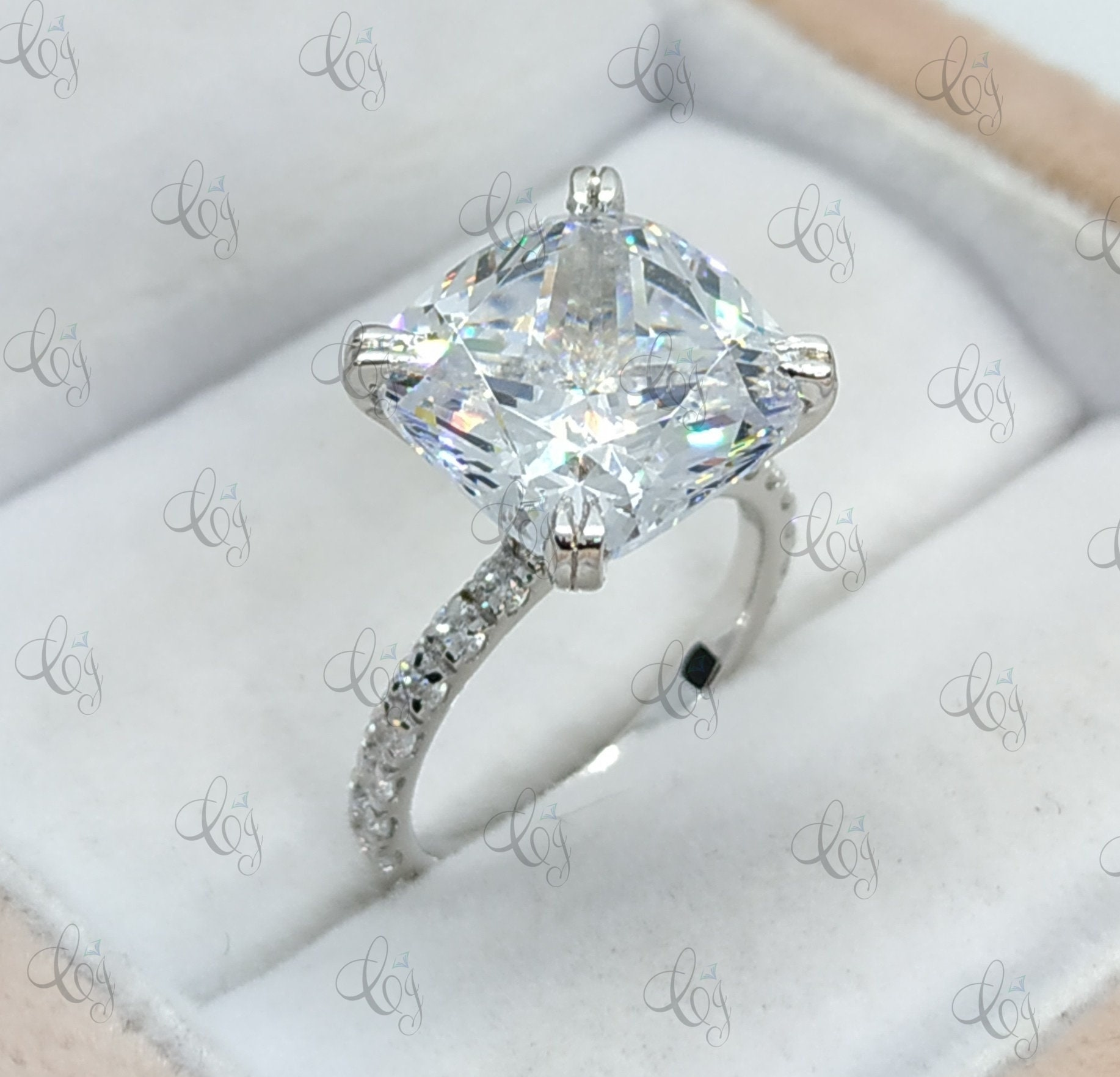 50 Ct Fancy Cocktail Asscher Cut Engagement Wedding Ring 925 Sterling Silver