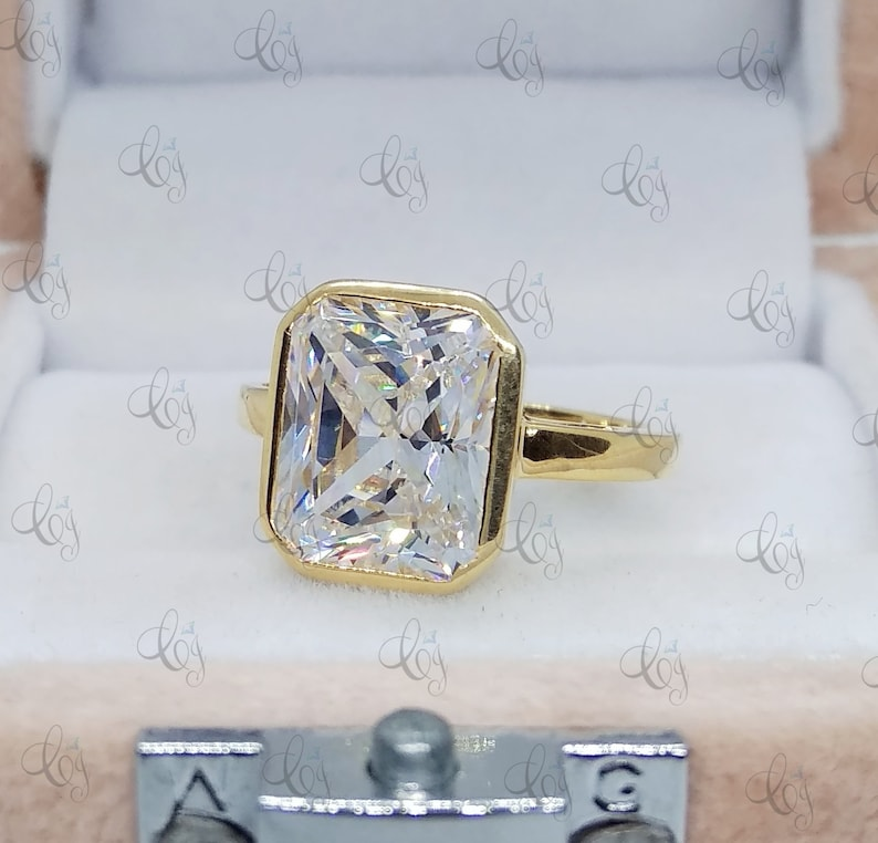 Bridesmaid Gift Emerald Bezel Set Wedding Engagement Ring Yellow Gold Over 925 Sterling Silver For Women 2.70 Ct Emerald Cut Solitaire Ring