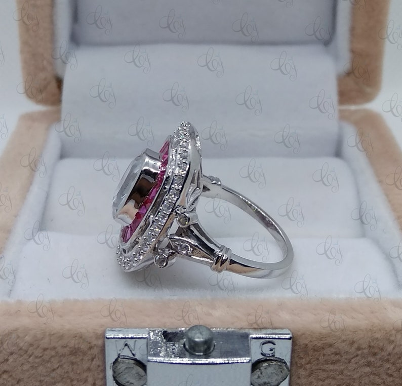 Art Deco 1.85 Carat White Cushion Cut and Ruby CZ Engagement Cocktail Ring In 925 Sterling Silver For Women/'s