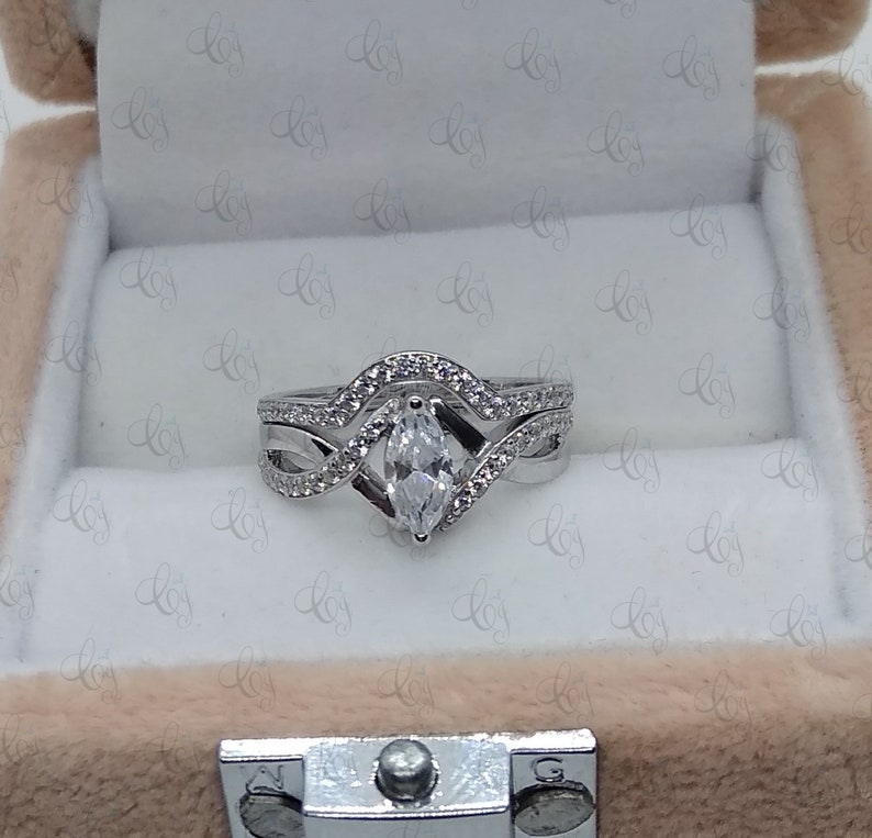1.60CT Marquise Cut CZ Engagement Ring With Matching Wedding Band Set In 925 Sterling Silver For Women