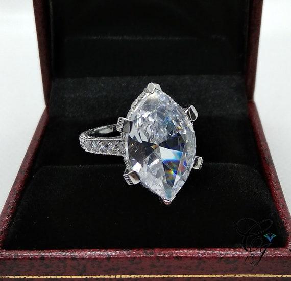 Antique Art Deco 10.50 Carat Large Marquise Cut Wedding  5077f3a192de