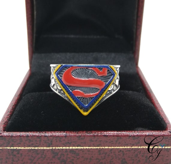 New Stylish Superman Mens Ring Biker In Solid 925 Sterling Silver