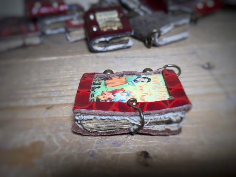 Miniature book \u201csnow white\u201dpendant,fairytale,grimm,necklace,disney,handmade,mini books