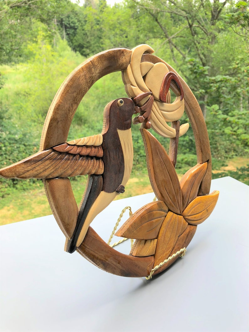 Unique Wood Workwooden Intarsia Birdhandcrafted Decorbirthday Giftwood Giftswoodworkingwood Carving Signoroginal Accesories