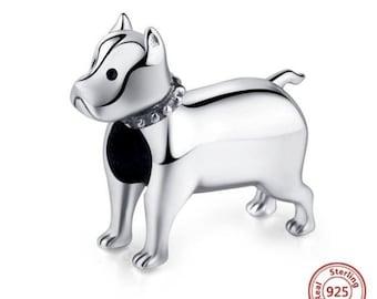 Heavy XL 3D Pit Bull Sterling PITBULL Dog Bead Charm fits all Brand Name Add a Bead Charm Bracelets