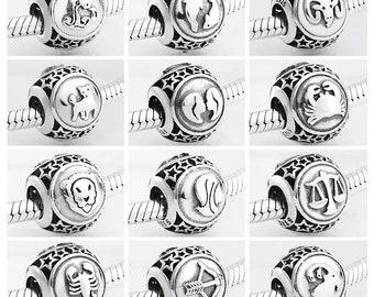 Zodiac Astrology Sign 925 Sterling Silver Pandora Fit European Bead Charm