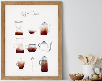 Coffee Time Poster, Coffee Kitchen Print, Coffee Illustration, Coffee Lovers Decor, Coffee Bar Sign, Coffee Shop Decor, Cafe Poster