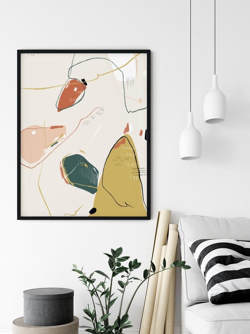 Hygge Sunshine, Boho Dekor, Boho Print, Abstrakte Kunst, Mid Century  Modern, Nordisches Design, Farbenfrohe Poster, Abstrakte Formen Kunst
