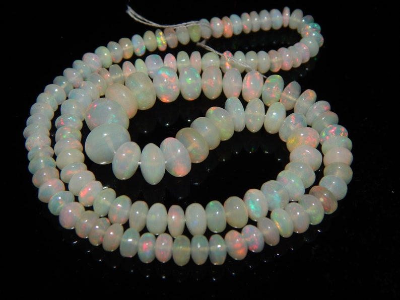 16Inch Length 100/% Ethiopian Opal Cabochon Roundel Beads Necklace 4-8MM Fire Welo Opal Rondelle Necklaces Flashing Opal Beads A214