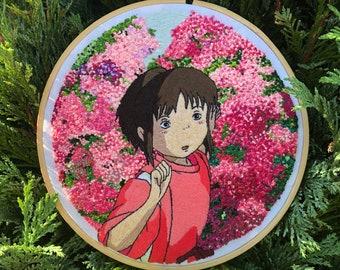 Studio Ghibli's Spirited Away hand embroidered Chihiro hoop
