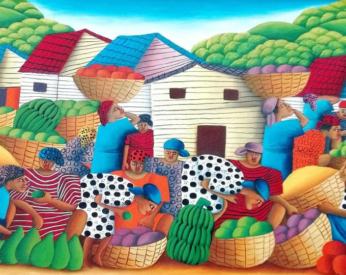 Work by Hugues Domond, Haitian art, naive art, jacmel painter...