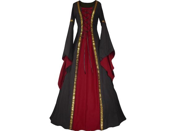 Dornbluth Karneval Larp Halloween Renaissance Mittelalter mittelalterliches Damen Kleid Gewand Robe Anna Schwarz Bordeaux Made in Germany