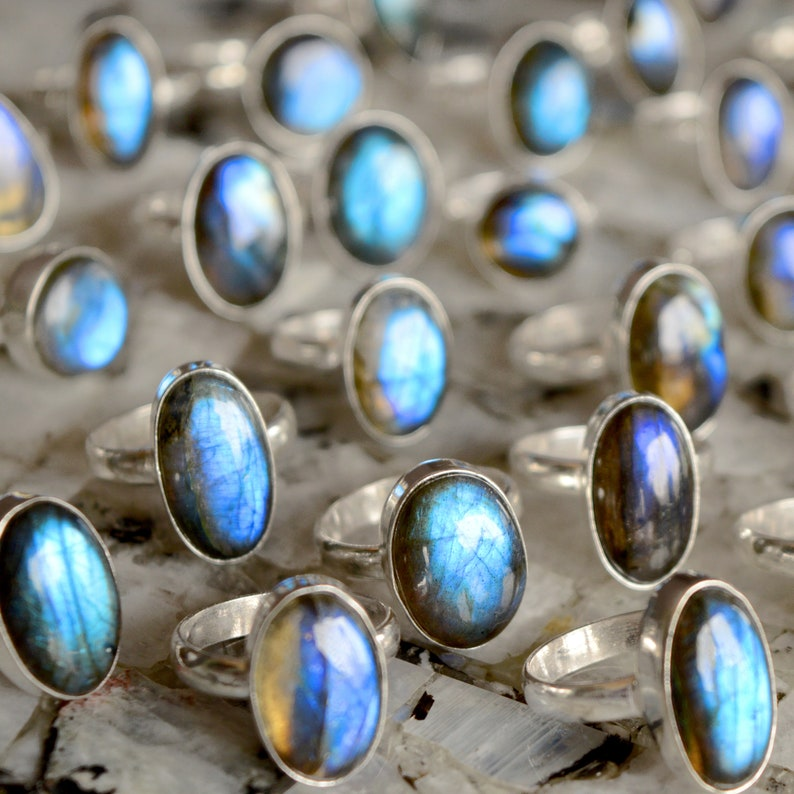 Natural Blue Fire Labradorite Ring Silver Overlay Ring Gemstone Handmade German Silver Ring Labradorite Gemstone Jewelry