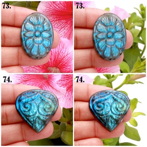 Loose Carving Gemstone for Making Wire Pendant Labradorite Gemstone Carving Amazing Labradorite Blue Fire Carving Gemstone 4 pc Lot