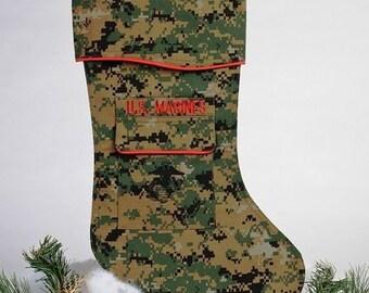 us marine christmas stocking crafted in the marine digital camo woodland fabric - Camo Christmas Stocking