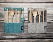 Reusable Bamboo Cutlery Set Eco Friendly Travel Utensils Knife Fork Spoon Bamboo Straw Storage Bag Zero Waste Portable Flatware Kit