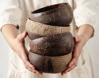 Natural Coconut Bowls & Spoons | Handmade Organic Coco Shells + Bamboo Straw | Smoothie Buddha Bowl Set | Zero Waste Eco Friendly Vegan Gift
