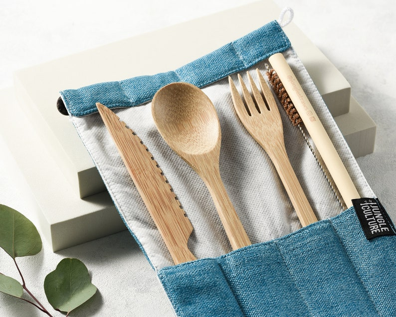 Reusable Bamboo Cutlery Set  Zero Waste Utensil Kit  Eco Green