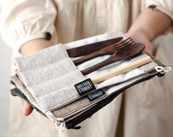 Zero Waste Wooden Cutlery Set | Handmade Alternative to Bamboo | Portable Travel Utensils, Reusable Straw & Pouch | Eco Friendly Vegan Gift