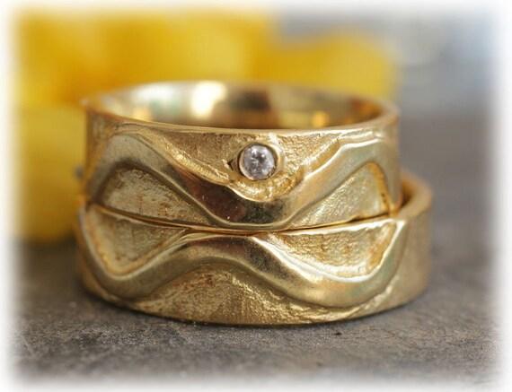 Ausgefallene Trauringe Hochzeitsringe Gelbgold 585 Diamant Im140
