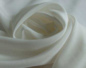 White Branches Silk Crepe De Chine Fabric By The Yard Width 53 Inch G19