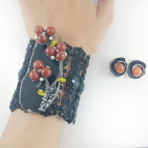 Flower Jewelry Vintage Style Jewelry Agate Jewelry Christmas Gift For Her Set Of 2 Agate Bracelet Victorian Jewelry Large Bracelet