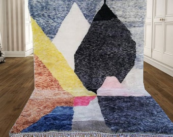 Moroccan rug ,Beni ourain rug, Moroccan Rug, Hand Knotted Rug, Wool Rug Cream , Moroccan Fringe Rug, Beni M'Guild