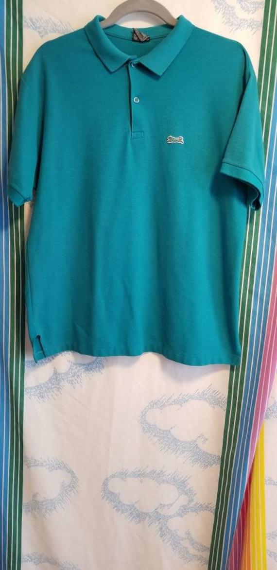 90s Teal /& Pink Tribal Striped Polo Shirt 90s Vaporwave 90s Skater Men/'s L 90s Polo