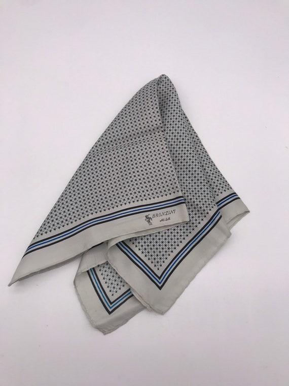 Vintage Bronzini Grey Men's Silk Pocket Square Sca