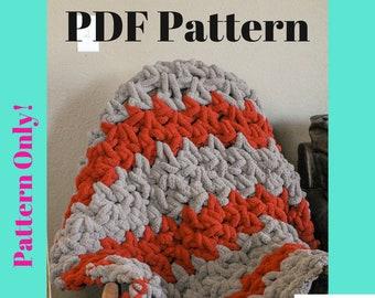 Pattern: Chunky Crochet Blanket, crochet pattern, Crochet blanket pattern, chunky crochet, crochet blanket, pattern, jumbo crochet blanket