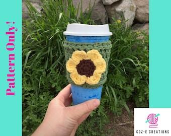 Pattern: Sunflower Coffee Cup Cozy, Crochet Pattern, Crochet cup cozy, to go cup cozy, coffee cozy, sunflower cozy, flower cup cozy, pdf