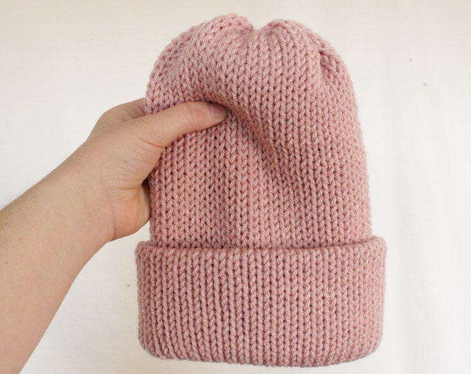 Featured listing image: Pink Pom beanie, knit beanie, grey beanie, beanie with Pom, slouchy beanie, unisex beanie, cuffed beanie, Pom beanie, women beanie,