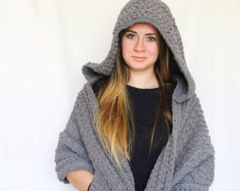 Hooded Pocket Shawl, Pocket Shawl, scarf with pockets, Wrap with pockets, Scarf, shawl, womens scarf, knit shawl, hooded scarf, hood, wrap