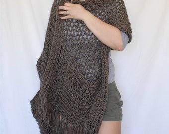 Pocket Shawl, Scarf with pockets, womens shawl, shawl with pockets, wrap with pockets, cozy scarf, pockets for hands, knit shawl, crochet