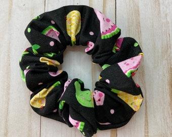 Happy Fruit Scrunchie, fruity scrunchie, hair scrunchie, scrunchie, hair tie, scrunchie for hair, 80s scrunchie, 90s scrunchie, girly