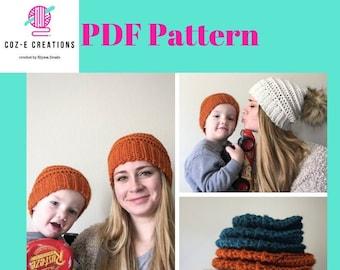 Pattern: The Hezzy Beanie, Crochet Beanie pattern with all sizes, adult beanie, boy beanie pattern, Crochet Pattern, unisex beanie pattern