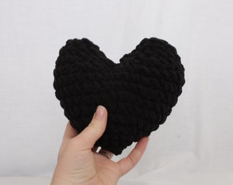Black Mini Heart, plush heart, mini heart, stuffed heart, Valentines gift, Valentines Day Decor, Gifts for her, Mini plush heart,