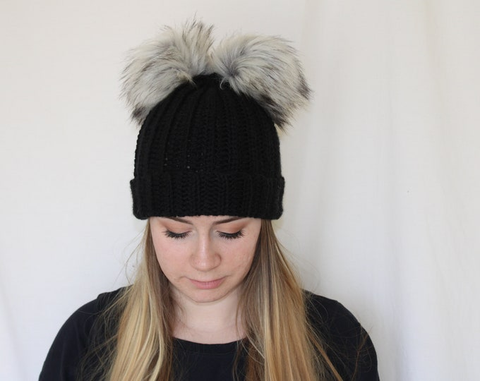Featured listing image: Double Pom Beanie, Womens Beanie, Beanies with two poms, Pom beanie, faux fur pom beanie, faux fur pom, ladies toque, womens hat, beanie,