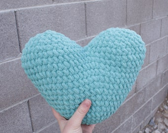 Teal Heart Pillow, heart decor, crochet pillow, heart pillow, crochet heart, valentines decor, Valentine's Day gift, nursery decor,