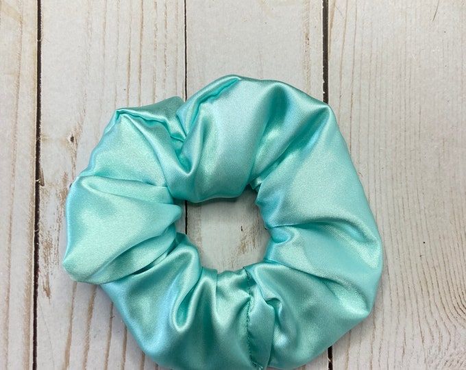 Featured listing image: Teal Scrunchie, Satin scrunchie, hair scrunchie, scrunchie, hair tie, scrunchie for hair, 80s scrunchie, 90s scrunchie, girl gift, silky