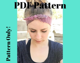 Pattern: Easy Peasy Pinup Crochet Headband, Crochet headband pattern, Headband pattern, Tie Headband pattern, vintage style headband, pinup