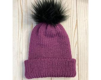Purple Pom beanie, knit beanie, grey beanie, beanie with Pom, slouchy beanie, unisex beanie, cuffed beanie, Pom beanie, women beanie,