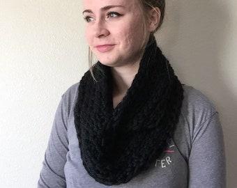 Black Infinity Scarf, Crocheted Infinity scarf, circular scarf, black scarf, womens scarf, ladies scarf