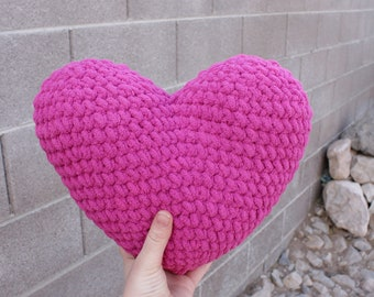 Magenta Heart Pillow, heart decor, crochet pillow, heart pillow, crochet heart, valentines decor, Valentine's Day gift, nursery decor,