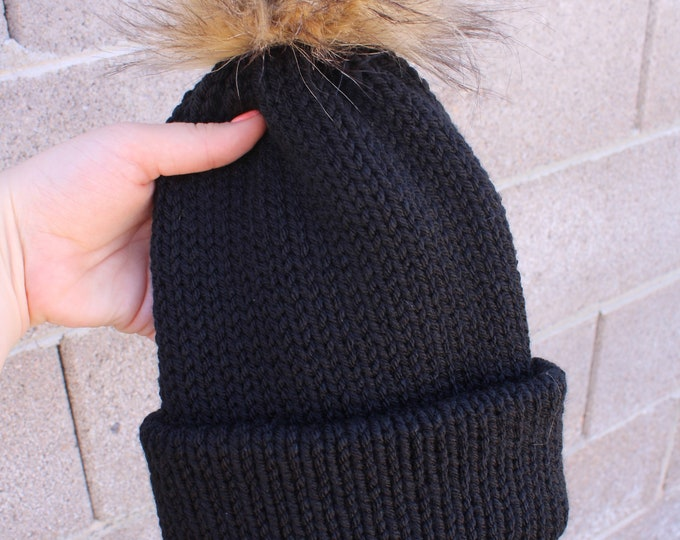 Featured listing image: Black Pom beanie, knit beanie, grey beanie, beanie with Pom, slouchy beanie, unisex beanie, cuffed beanie, Pom beanie, women beanie,