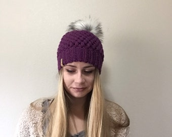 Purple Women's Beanie with Faux Fur PomPom, fur pom beanie, crochet beanie, women's beanie, ladies knit beanie, gifts for her, women's hat